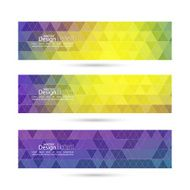 Set of vector banners with triangles and polygon mesh N2