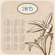 Vector calendar for 2015 Flowers on textured background N2