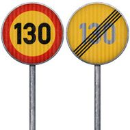Two yellow and red maximum speed limit 130 road signs