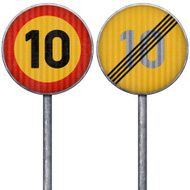 Two yellow and red maximum speed limit 10 road signs
