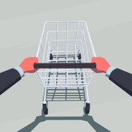 Businessman hands holding empty shopping cart N2