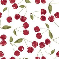 seamless cherry texture pattern of leaves stalks and berries