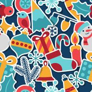 Merry Christmas and Happy New Year seamless pattern N12