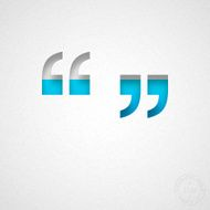 "Quotation mark symbol "" "" Blue Symbol on Watercolor Paper"