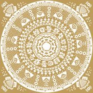 Monochromatic ethnic round ornament Abstract pattern Circle background N4