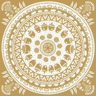 Monochromatic ethnic round ornament Abstract pattern Circle background N6