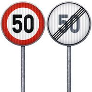 Two red and white maximum speed limit 50 road signs