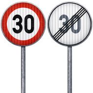 Two red and white maximum speed limit 30 road signs