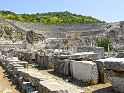 The ruins of the amphitheatre of ancient Turkey