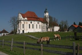 pilgrimage church in the countryside in steingaden