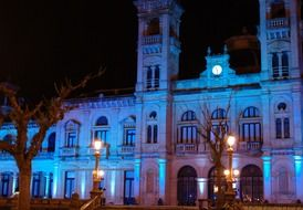 city hall of san sebastian at night