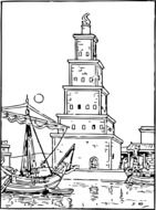 ancient lighthouse drawing
