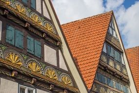 colorful vintage wooden buildings in Germany