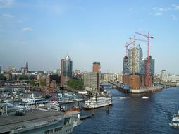 cityscape of Elbe Philharmonic Hall in the port of Hamburg