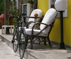 bicycle on a city street of greece