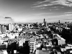 black and white panorama of the city of Kaohsiung
