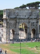 panorama of the arched gate in rome