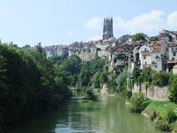 green river along the old town fribourg switzerland