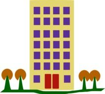 Clipart of building and trees