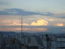 evening over the city of sao paulo