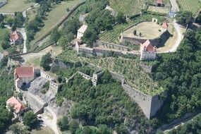 aerial view of medieval castle riegersburg