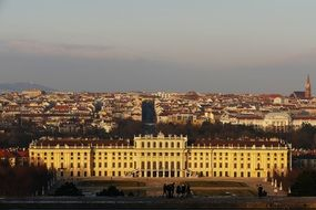 schonbrunn castle in the evening