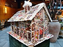 large decorated gingerbread house