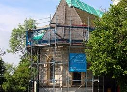old house in scaffolding