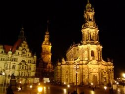 church in dresden at night