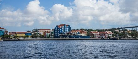 View of a cityscape of curacao on the coast