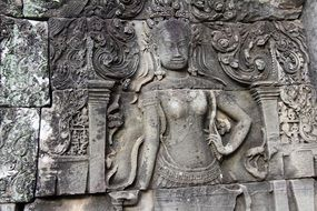 Stone sculptures in Bayon temple, Asia