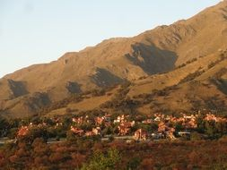 panoramic view of a village at the foot of a hill in argentina