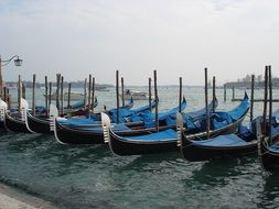 gondolas at dock, italy, venice