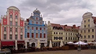 colorful houses in the old town in poland