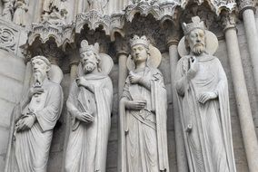 statues of saints on the facade of Notre Dame in Paris