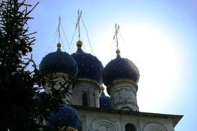 russian orthodox church with bright blue domes