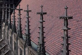 pinnacles on a cathedral's roof