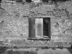 old abandoned house with a window