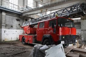 red fire truck in warehouse