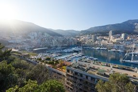 panoramic view of the harbor in monaco on a sunny day