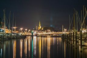 lights of Kappeln port at night