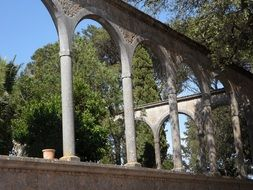 round arches of the monastery in Mallorca
