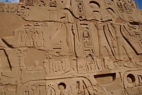 ancient reliefs on the wall in Karnak