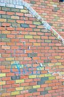 Wall with graffiti and colorful bricks on it