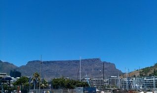 Table Mountain under the blue sky in Cape Town