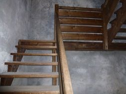 wooden staircase inside the tower