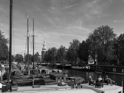 Black and white photo of Amsterdam