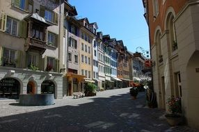 Street of the old town in Bremgarten