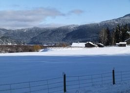 winter landscape on a ranch in British Columbia