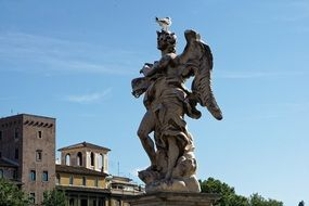 Sculpture on the bridge of the holy angel in Rome